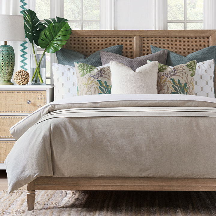 Taia - luxury bedding,coastal bedding,casual bedding,reef print,neutral,beige duvet,reversible duvet cover,coastal bedroom,matelasse,taupe,taupe bedding,taupe pillow