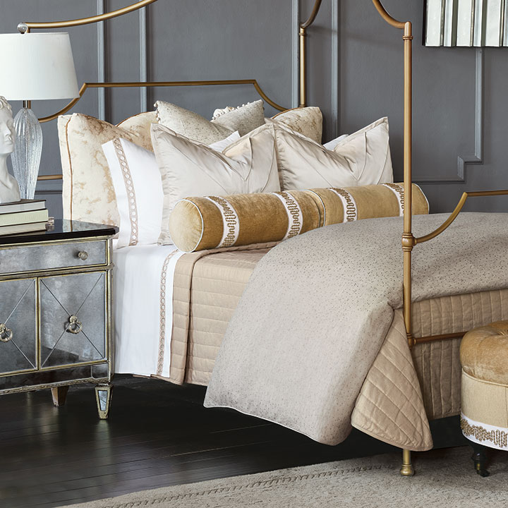 Marceau - glam,gold,metallic,luxury,bedding,top of bed,old hollywood,over the top,decadent,glam bedding,gold bedding,home decor,metallic glam bedding,bolster,duvet cover,comforter,decorative pillows,throw pillows,accents pillows,king sham,standard sham,euro sham,chenille,marble,marbled,marble euro sham,gold marble,gold marble euro sham,turkish corners,boxed euro sham,turkish corner euro sham,pleated,texture,beaded trim,matelasse,coverlet,matelasse coverlet,channelled coverlet,