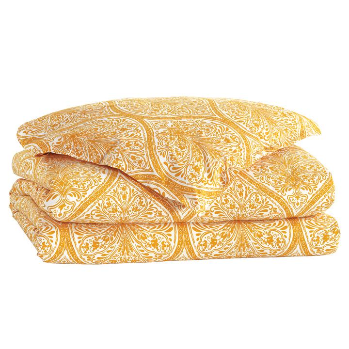 Adelle Percale Duvet Cover In Saffron