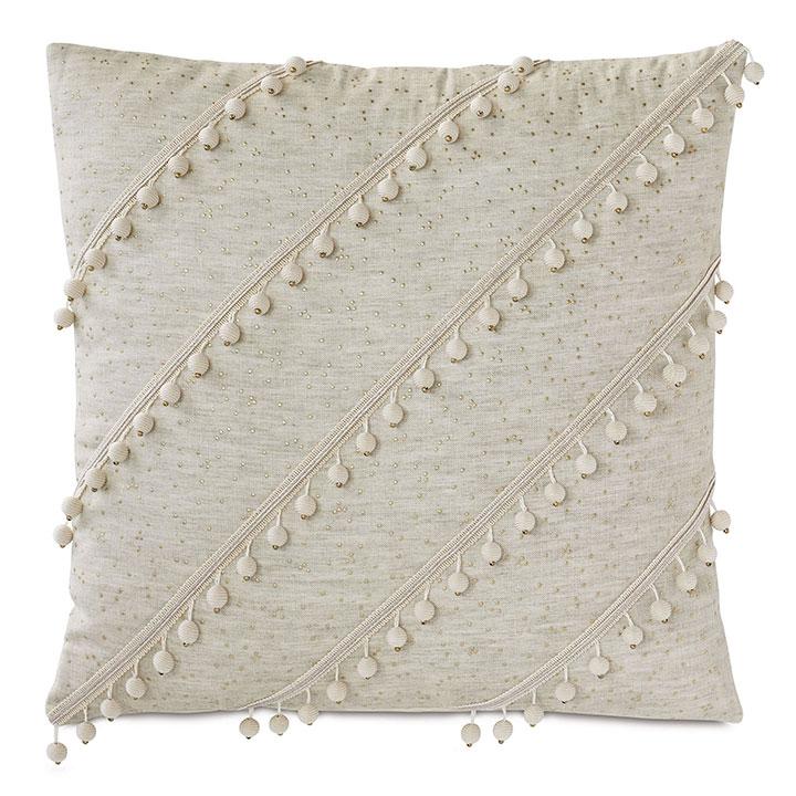 Marceau Diagonal Ball Trim Decorative Pillow