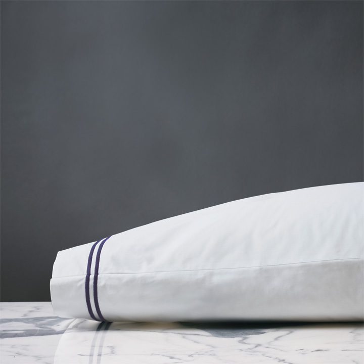 Enzo White/Navy Pillowcase