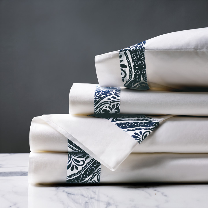 Adelle Percale Sheet Set In Marine
