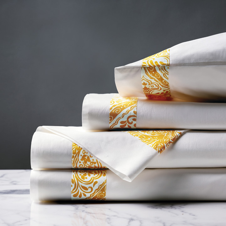 Adelle Percale Sheet Set In Saffron