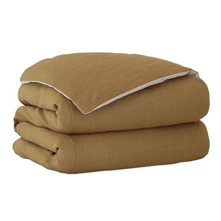Trillium Solid Duvet Cover in Gold and Comforter
