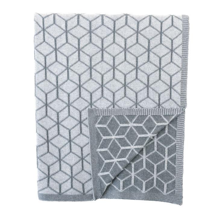 Bond Geometric Knit Throw In Slate