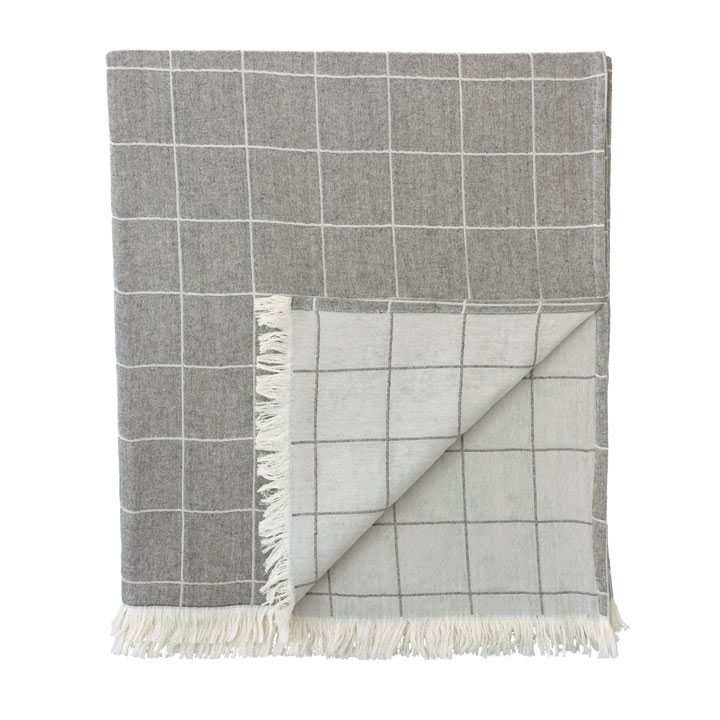 Savile Windowpane Throw In Gray