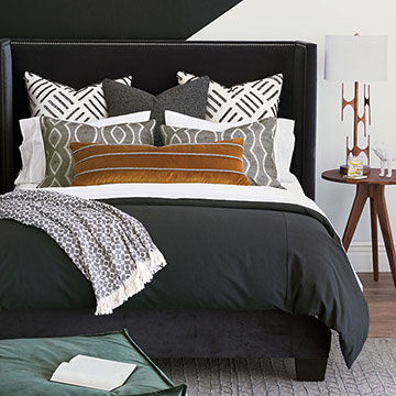 Felix - luxury bedding,monochrome bedding,dark bedding,graphic bedding,graphic patter,black duvet,black and white,mustard pillow,black and white pillow, monochrome pillow