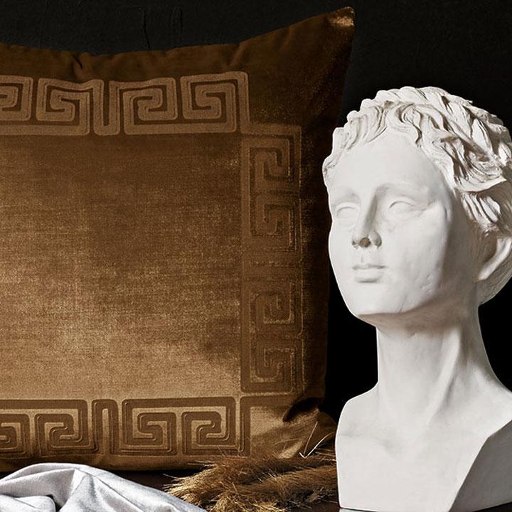 Antiquity - decorative pillow,throw pillow,accent pillow,pillow,velvet,glam,classical,ancient greek,engraved,velvet pillow,gold,metallic,silver,black,white,medusa,column,greek key,creation of adam,