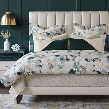 Izaro - glam,watercolor,spa tones,blue,emerald,green,glamorous,fine linens,sateen,100% cotton,printed sateen,glam sateen,watercolor sateen,watercolor print,bedding,sheets,sheeting,Egyptian cotton,Italian,leather,velvet,pillows,shams,flat sheet,fitted sheet,duvet cover,sheets,