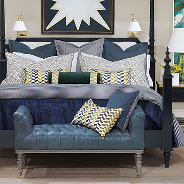 Claire - ,designer bedding,alexa hampton,blue bedding,chevron pillow,citron pillow,luxury bedding,designer bedroom,bedroom decor,blue pillow,luxury duvet,