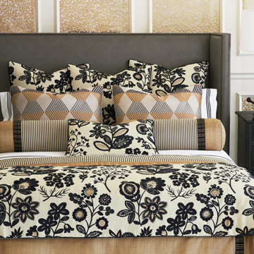 Lars - ,luxury bedding,designer bedding,designer bedroom,alexa hampton,gold bedding,floral bedding,black bedding,luxury bedroom,luxury pillow,luxury duvet,ticking stripe,designer pillow,gold bolster,floral embroidery,black floral,black embroidery,black floral,