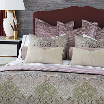 Evie - ,luxury bedding,designer bedding,designer bedroom,alexa hampton,pink bedding,mauve bedding,purple bedding,luxury bedroom,luxury pillow,luxury duvet,ticking stripe,designer pillow,pink velvet,