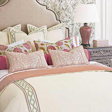 Marguerite - ,luxury bedding,designer bedding,designer bedroom,alexa hampton,floral bedding,floral embroidery,ticking stripe,romantic bedding,romantic bedroom,luxury bedroom,greek key,pink bedding,traditional bedroom,