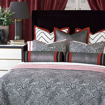 Percival - ,luxury bedding,designer bedding,designer bedroom,alexa hampton,black and white bedding,monochrome decor,graphic print duvet,graphic bedding,black and white pillow,black and red bedding,metallic pillow,luxury bedroom,monochrome bedroom,zebra print duvet,