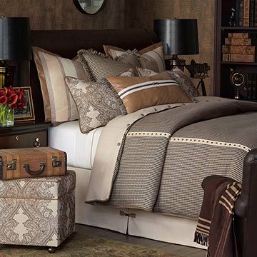 Aiden - lodge bedding,country bedding,mountain home bedding,southwest,northwest,rustic bedset,saddle leather,traditional,lodge home bedding,paisley,flannel,plaid,nailhead,antique brass,tan