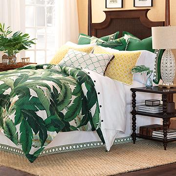 Lanai - green tropical bedding,banana leaf bedding,tropical foliage bedding,dark green tropical bedding,green coastal bedding,beach style,green and yellow,vintage banana leaf