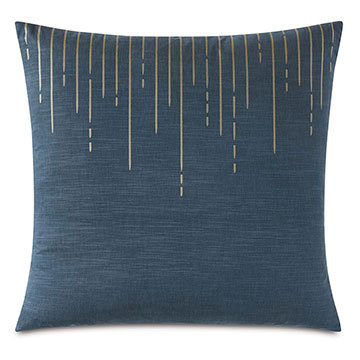 Tabitha Metallic Drip Decorative Pillow in Marine