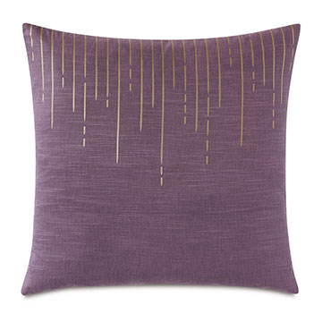 Tabitha Metallic Drip Decorative Pillow in Plum