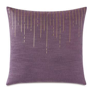 Tabitha Metallic Drip Decorative Pillow in Plum