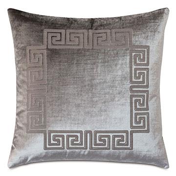 Antiquity Greek Key Decorative Pillow in Dove