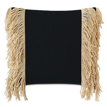 Palermo Fringe Decorative Pillow in Black