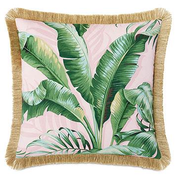 Abaca Fringe Decorative Pillow in Flamingo