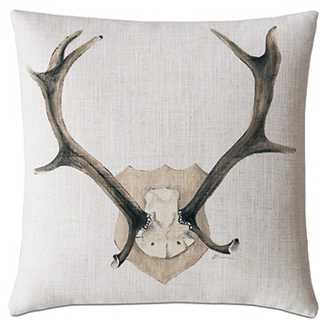 Mounted Antlers Decorative Pillow