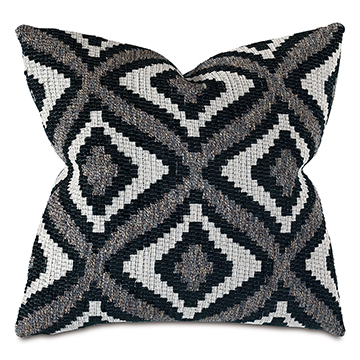 Monterosa Woven Decorative Pillow in Black