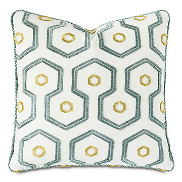 Twin Palms Embroidered Decorative Pillow