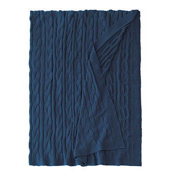 Avalon Cableknit Throw In Indigo