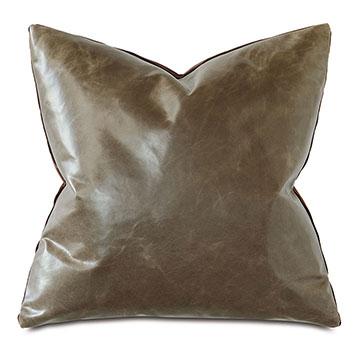 Tudor Leather Decorative Pillow In Cocoa