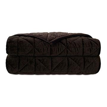 Nova Quilted Velvet Coverlet In Cocoa