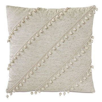 Marceau Diagonal Ball Trim Decorative Pillow