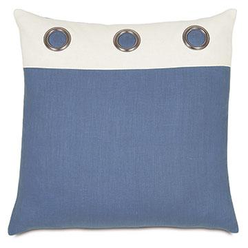 Maritime Grommet Accent Pillow In Blue