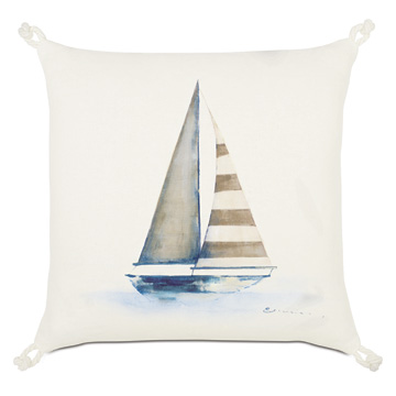 Maritime Hand Painted Yacht Accent Pillow In Ivory