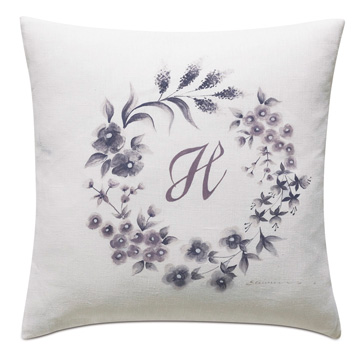 Naomi Hand Painted Monogram Accent Pillow In White