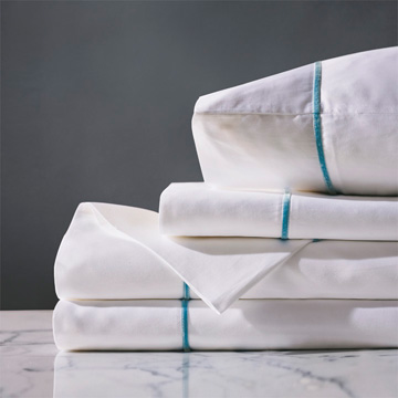 Linea Sheet Set In White & Azure