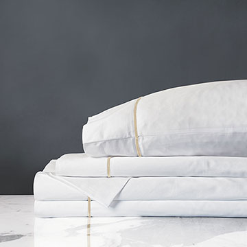 Linea Sheet Set In White & Sable