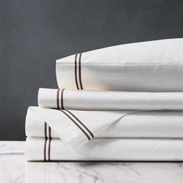 Enzo White/Brown Sheet Set