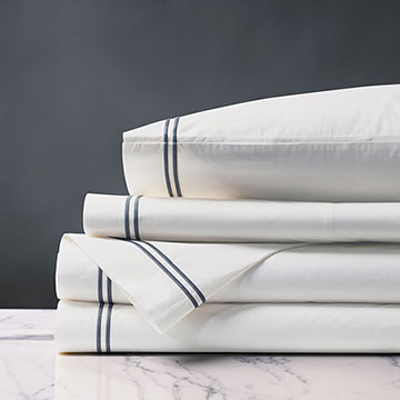 Enzo Satin Stitch Sheet Set in Slate