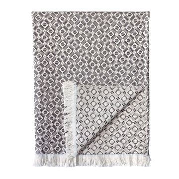 Carnaby Modern Birds Eye Throw In Black