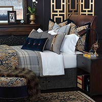 Arthur - luxury bedding, button-tufted, decorative bedding, buckle, monogram, designer bedding, plush, velvet, 100% cotton, throw pillows, decorative pillows, ottoman, accent pillows, duvet cover, faux leather, plaid, navy, brown, damask, duvet cover, comforter, draperies, curtains, curtain panel, bed skirt, sham, bed scarf, nailhead,