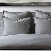 Brant Point - Soft gray,warm gray,gray,grey,striped,stripes,solid,mitered,flange,mitered flange,texture,cotton,100% cotton,Egyptian cotton,monochrome,two-sided,reversible,bedding,luxury,luxury bedding,high-end,high-quality,sophisticated,refined,coastal,east coast,thom filicia,pinstripes,pinstriped,luxury bedroom,luxury home,handmade,made in usa,made in america,made to order,duvet cover,comforter,blanket,designer,machine washable,washable,soft,reversible,versatile,