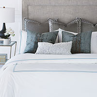 Henio - chenille,luxury bedding,chenille,blue pillows,luxury decor,grey pillows,embroidery,cool toned,blue bedding,barclay butera