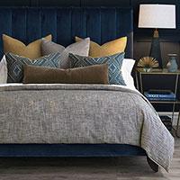 Trillium - ,bedset,bedding,rustic bedding,mustard bedding,fil coupe,embroidery,embroidered bedding,earth tones,linen bedding,yellow linen,mohair,metallic,gold bedding,