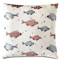 Minnow Embroidered Decorative Pillow