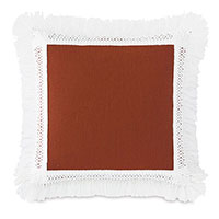 Palermo Fringe Decorative Pillow in Henna