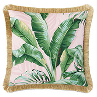 Abaca Fringe Decorative Pillow in Flamingo