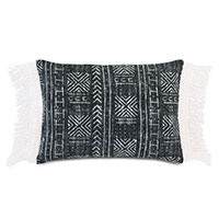 Seydou Fringe Decorative Pillow in Black