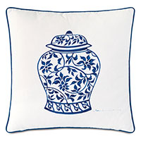 Porcelain Ginger Jar Decorative Pillow